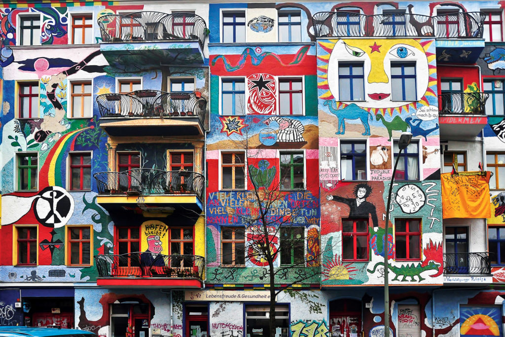 A splash of colour on houses in East Berlin.