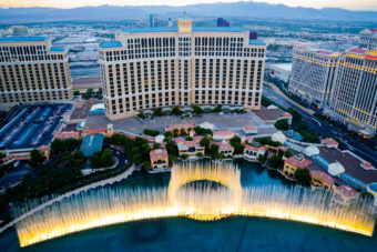 The Bellagio Fountains in Las Vegas, USA.