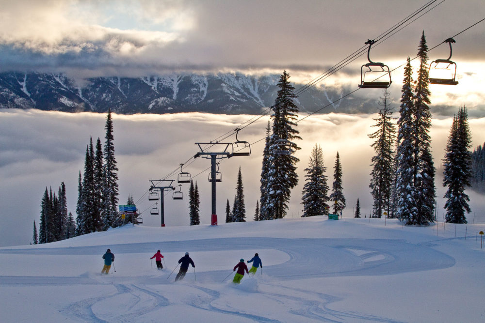 First tracks in the morning at Fernie in BC, Canada.