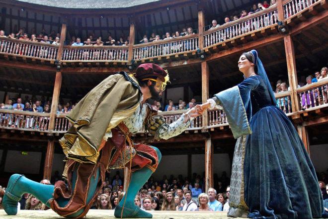Inside Shakespeare's Globe theatre, London.