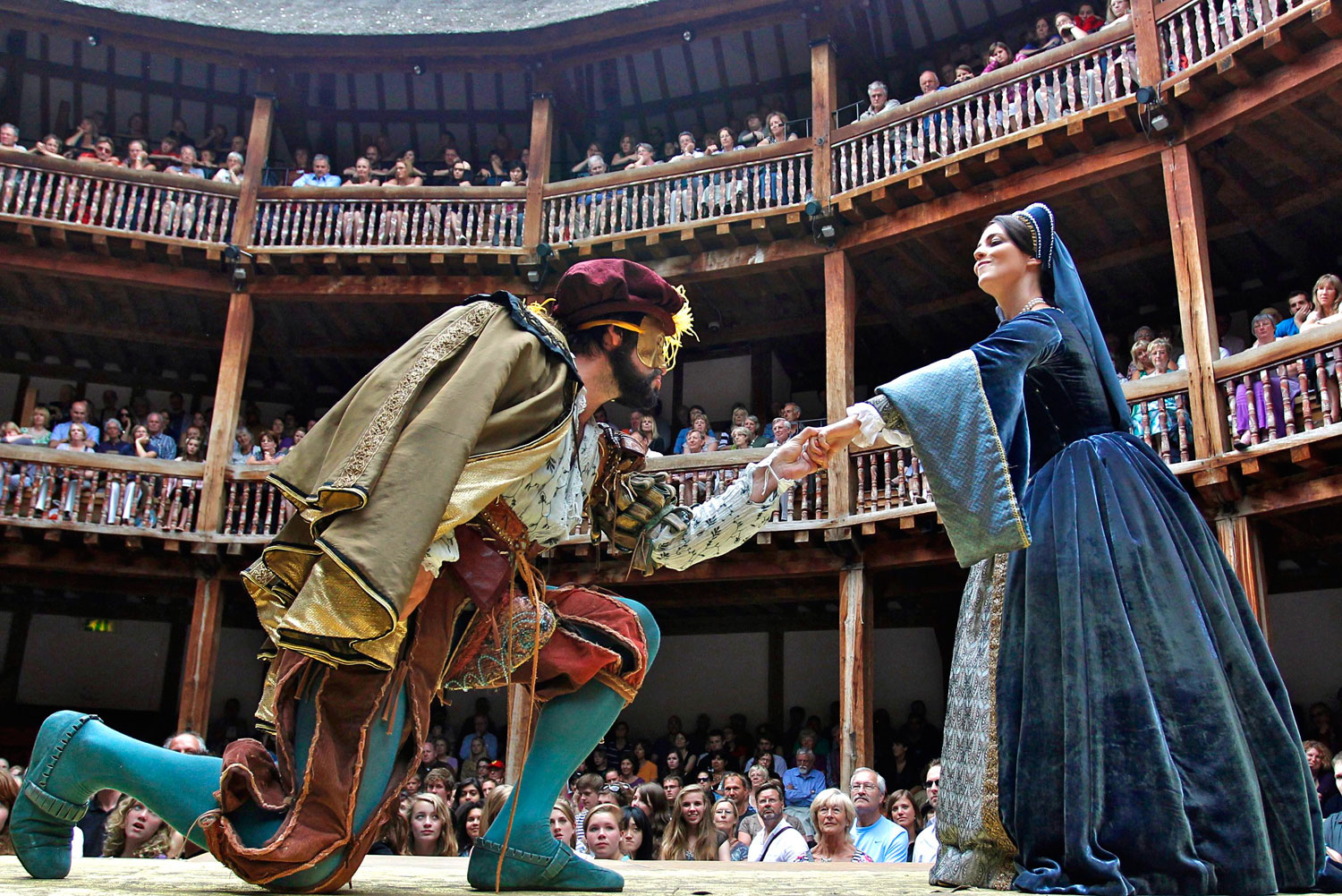 Inside Shakespeare's Globe theatre, London.