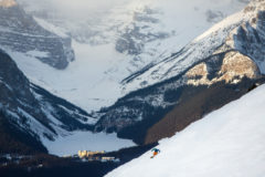 Skiing near Lake Louise Ski Resort with the famed chateau below.