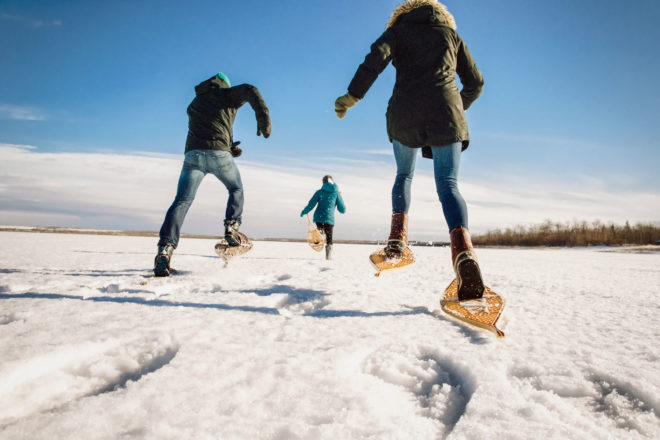 Snowshoeing in Alberta, Canada.