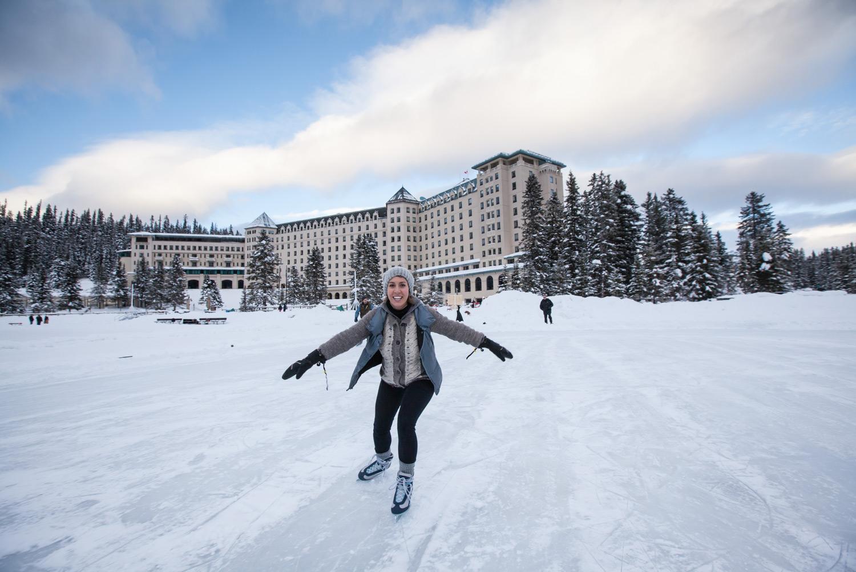 Ice skate around Lake Louise