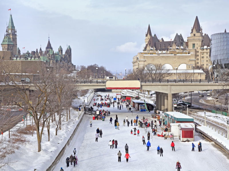 Ottawa's Rideau Canal in winter.