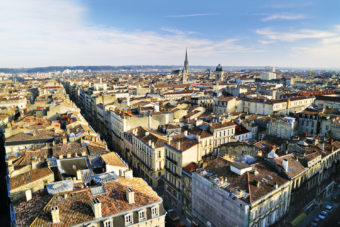 The historic city skyline of Bordeaux, France.