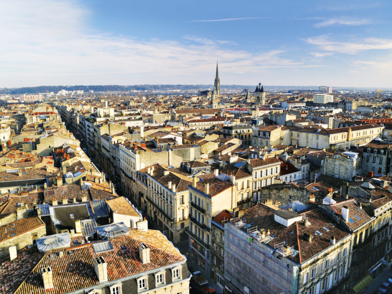 The historic city skyline of Bordeaux, France.