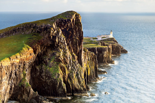 The sheer face of Neist Point on the Isle of Skye, Scotland.