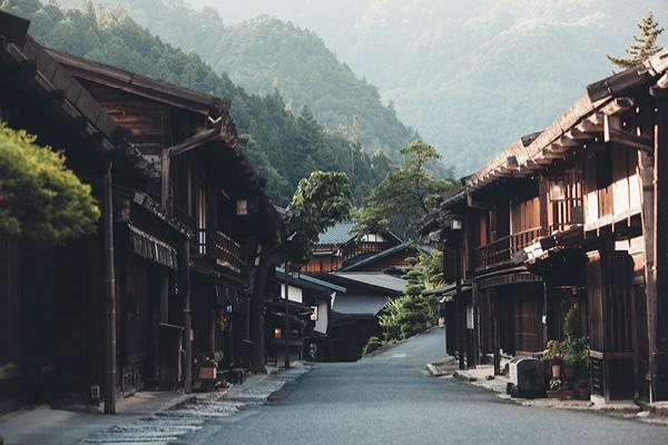 Japanese village with Ryokan houses