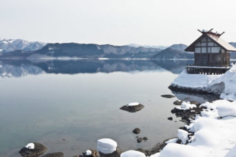 Shinto shrine on the shores ofLake Tazawa, Japan.