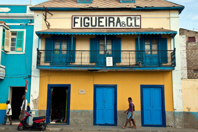 Colourful buildings adorn São Vicente, Cape Verde.