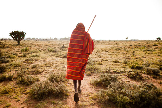 Walking through the Maji Moto landscape in Kenya.