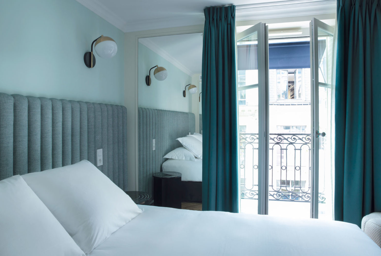 Guest rooms at Hotel Bachaumont, Paris.