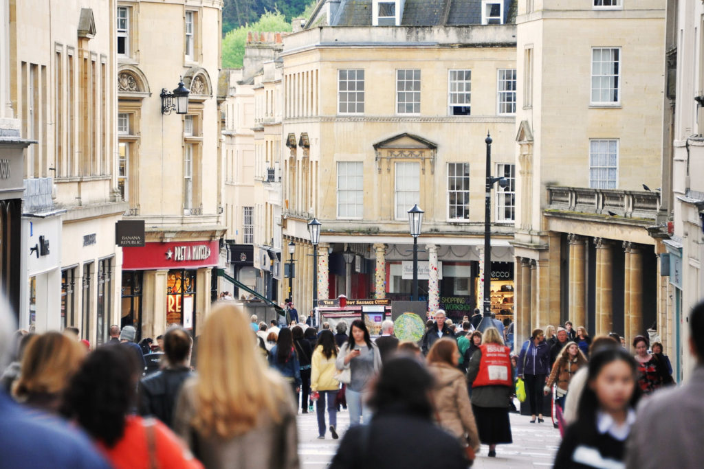 Bath's shopping precinct, Milsom Street.