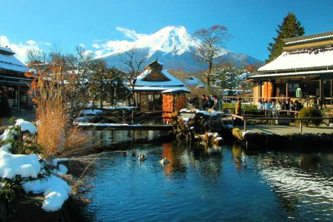The picturesque village Oshino Hakkai in Japan.