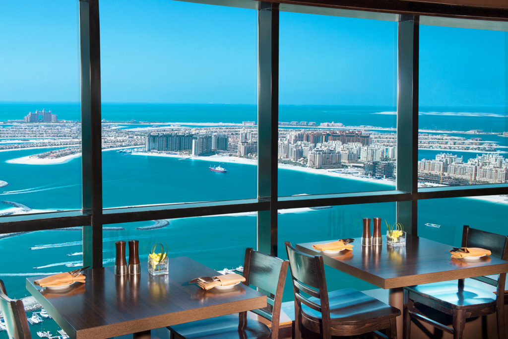 Located on the 52nd floor of the Dubai Mariott Harbour hotel, city views don't get much better than from The Observatory restaurant, with magnificent 360-degree views across Dubai Marina and Palm Jumeirah.