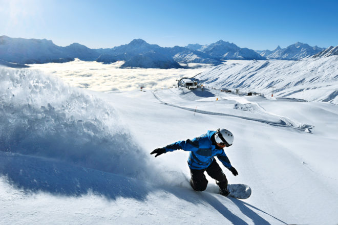 Snowboarder at Belalp Switzerland