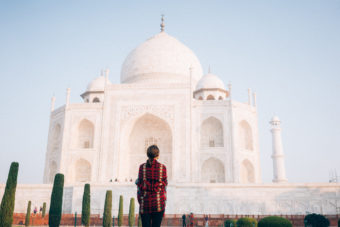 Woman looking at Taj Mahal