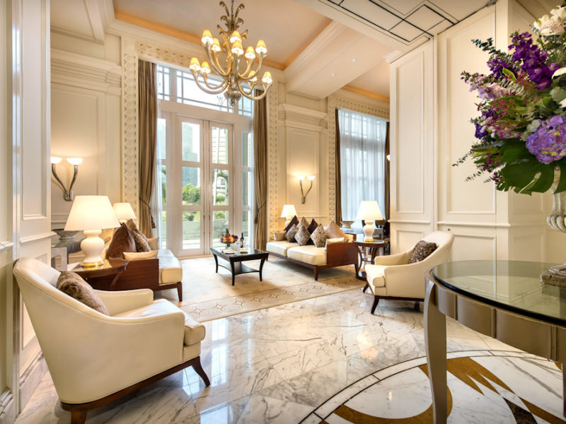 Singapore Fullerton Hotel Presidentail Suite living room marble floor