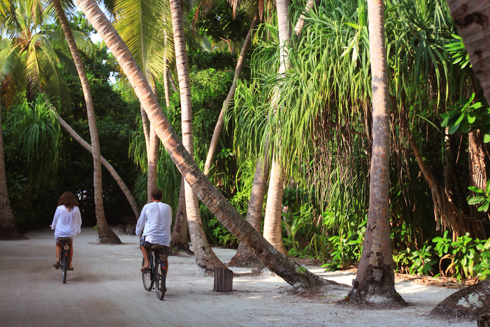 Cycling Maldives Soneva Fushi eco chic stays