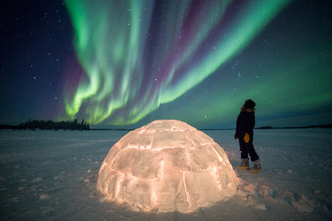 Aurora borealis at Blachford Lake Lodge in Yellowknife, Canada