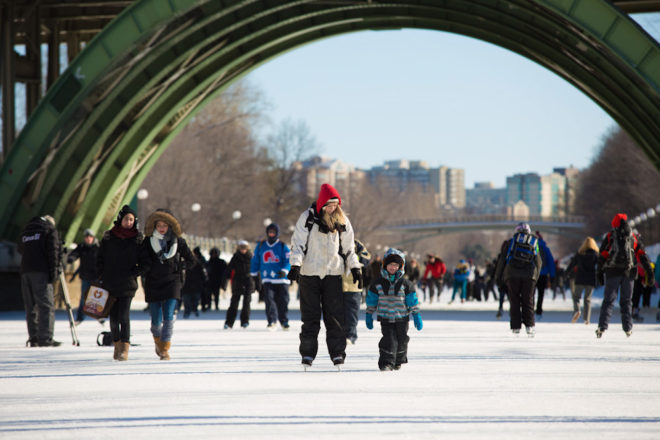 Skating on the Rideau Canal during the Winterlude Festival in Ottawa