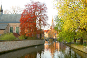 Autumn trees over Bruges Canal