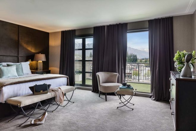 Sofitel Queenstown Penthouse bedroom with view