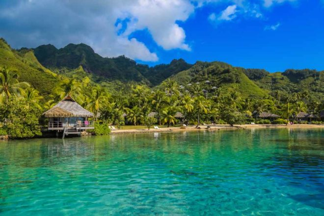 Perfect blue waters of Moorea in French Polynesia