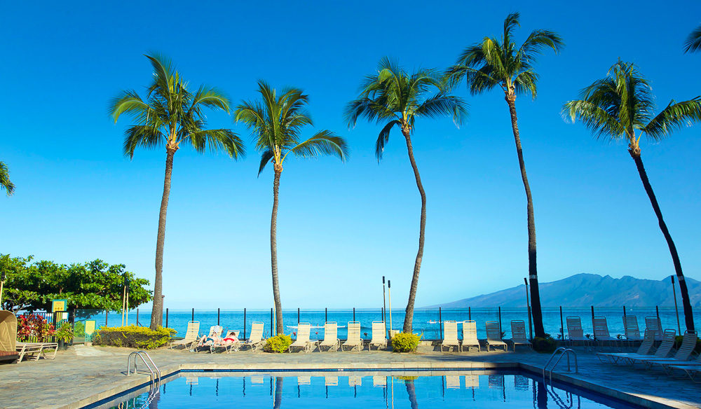 The pristine pool and beautiful views from the pool at Aston Kaanapali Shores