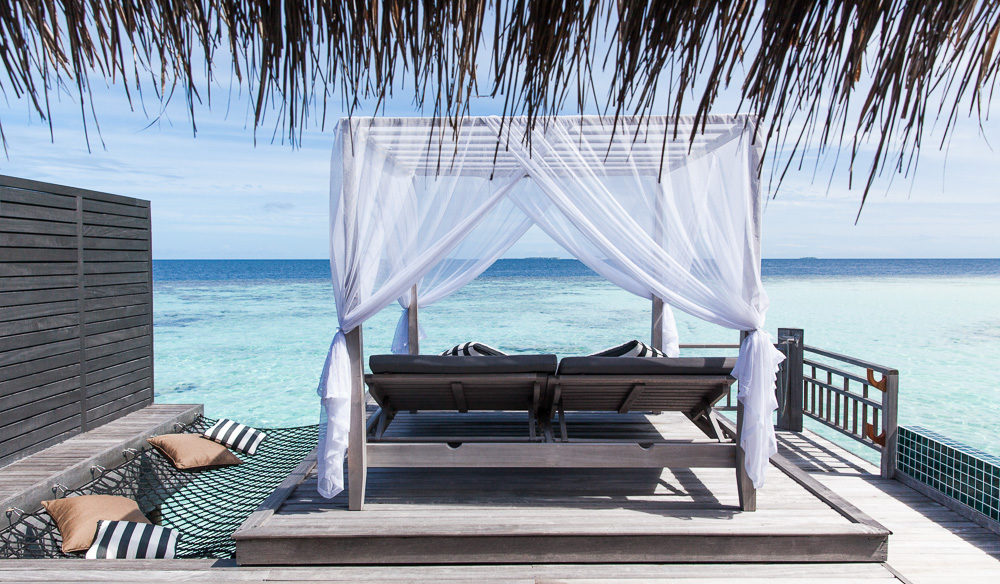 The outdoor lounges at the Outrigger Konotta Maldives Resort