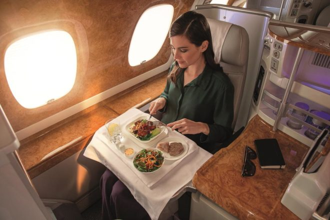 food in Emirates A380 business class