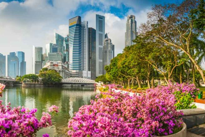Singapore Marina Bay CBD skyscrapers crowded cityscape downtown core panorama