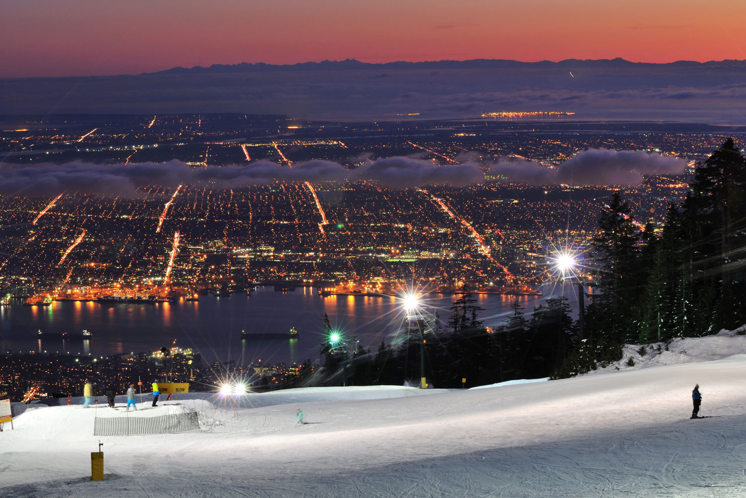 Night time skiing at Grouse Mountain in BC, Canada.