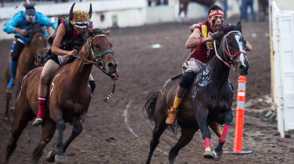 Indigenous Relay Races at the Calgary Stampede.