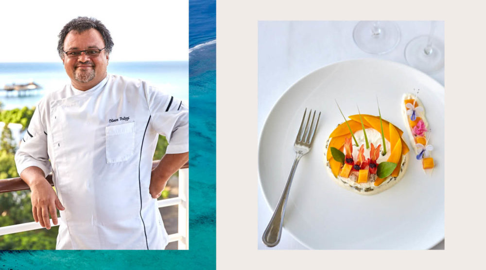 food chef Olivier Polizzi cooking prawns signature dish