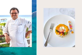 food chef Olivier Polizzi cooking prawns signature dish