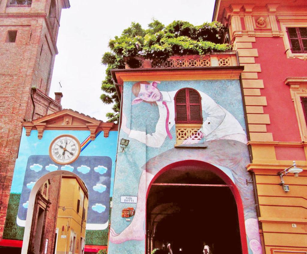 Dozza village Emilia Romagna Italy colourful architecture