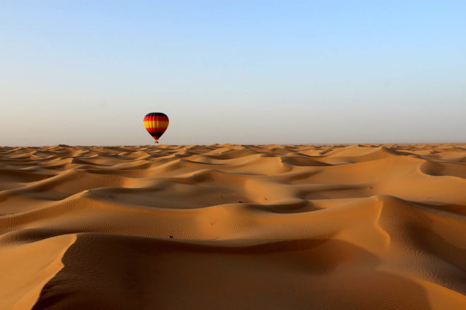 Hot air ballooning over the desert