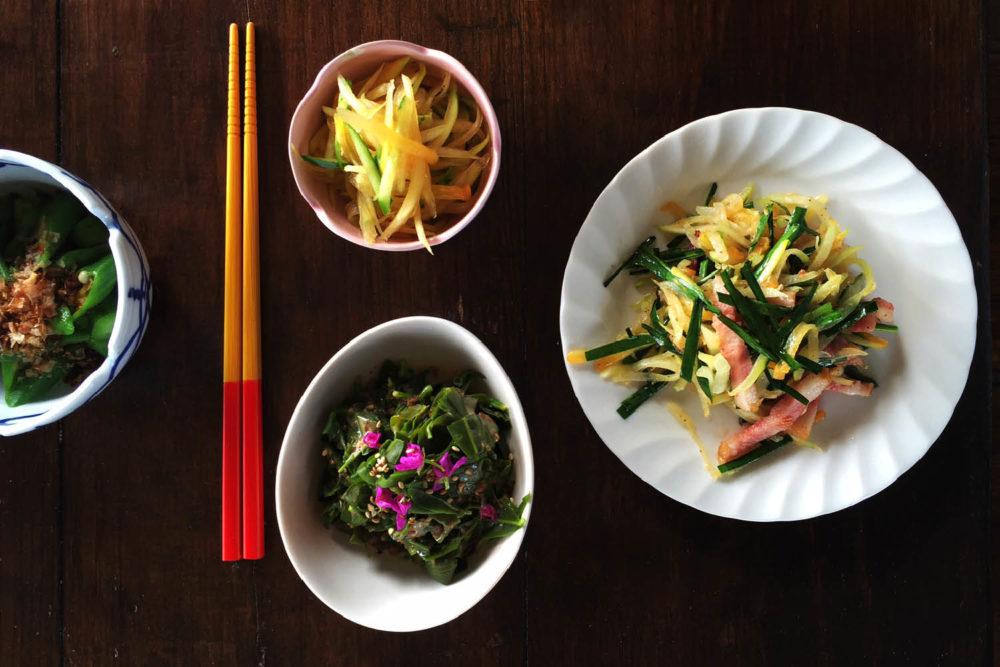 food dishes Okinawa traditional chop sticks saki