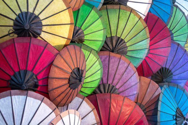 Luang Prabang Laos umbrellas