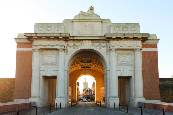 Menin Gate memorial to the missing soldiers of World War I in Ypres, Flanders Fields, Belgium