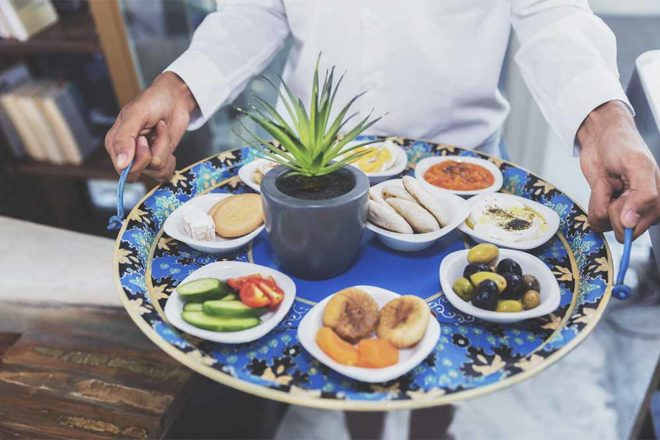 Delicious middle eastern food platter