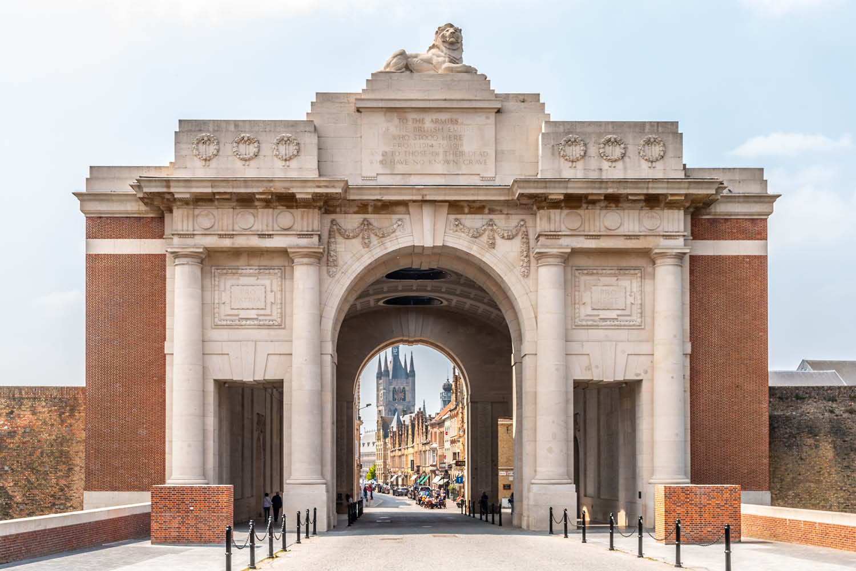 Front view of Menin gate at Ypres Belgium