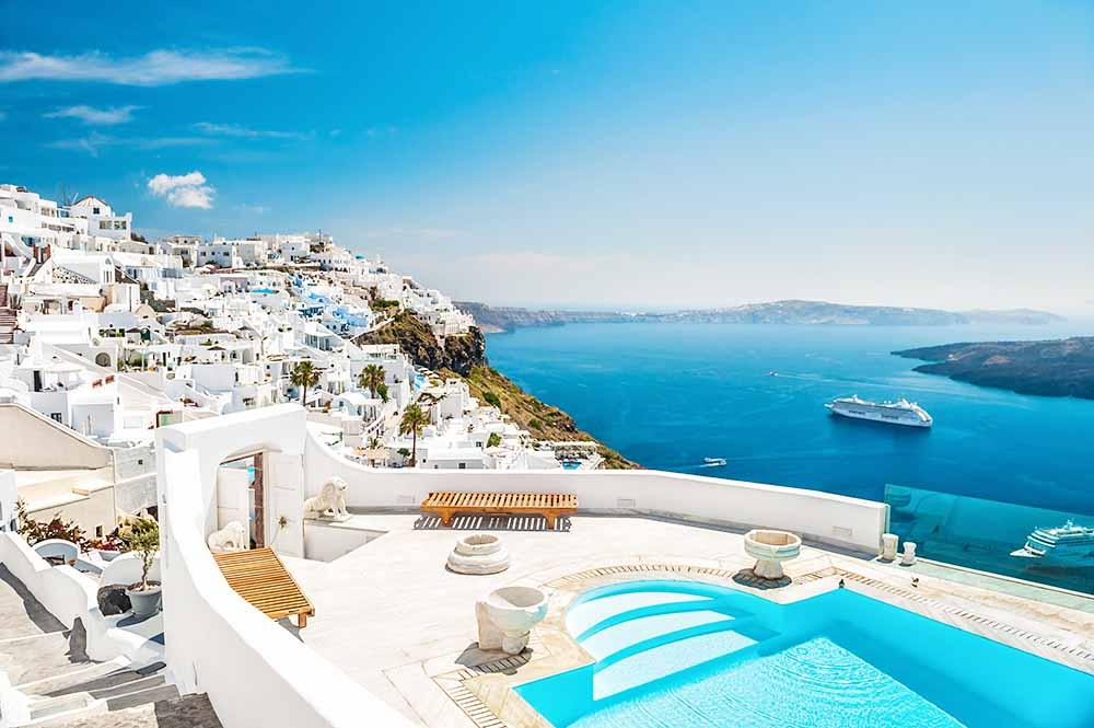 Santorini island, Greece Ocean Cruising