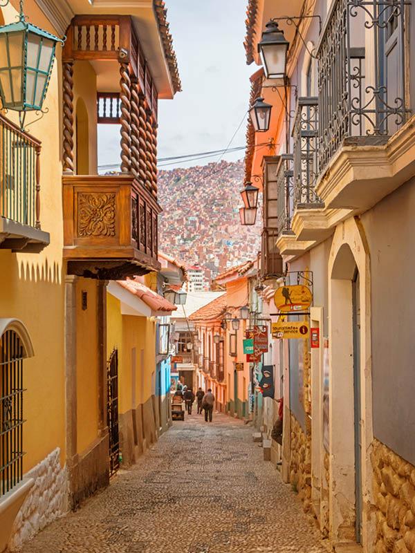 Ornate alley in old town La Paz Bolivia.