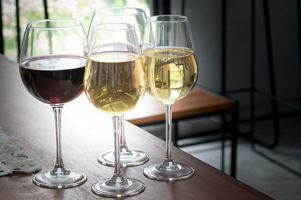 wine glasses on table