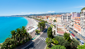 Aerial view of Nice beach, France