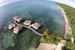 Aerial view of coconut beach club, samoa