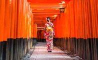 Japanese geisha walking